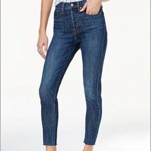 Raw-Hem Levi's Skinny Wedgie Blue Jeans (Size 25)